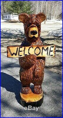 BIG 3' BROWN BEAR Chainsaw Wood Carving Bear Sculpture Log Home Rustic Art Decor