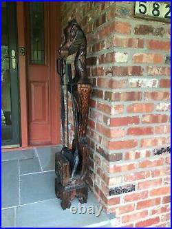 BIG 48 Witco MCM Carved Wood Chess Horse fireplace tool floor sculpture
