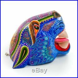 BLUE JAGUAR HEAD Oaxacan Alebrije Wood Carving Mexican Art Animal Sculpture