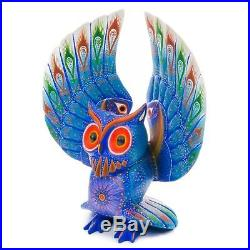 BLUE OWL Oaxacan Alebrije Wood Carving Mexican Art Animal Sculpture Painting