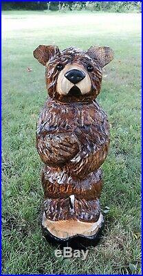BROWN BEAR Chainsaw Wood Carving Bear Sculpture Log Home Rustic Art Decor