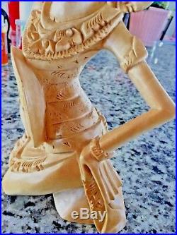 Bali Dancer Janger Sculpture Hand CarvedCrocodile Wood H 11 inch W 6 inch