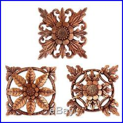 Bali Flowers Hand Carved Set of 3 Wood Relief Wall Panels Sculptures Novica Bali