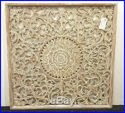 Balinese Carved Wood Wall Panels Wall Hanging Art Brown Wash Large 90 Cm x 90 CM