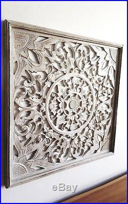 Balinese Carved Wood Wall Panels Hanging Art White Wash