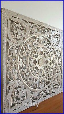Balinese Carved Wood Wall Panels Hanging Art White Wash Large 80 Cm X
