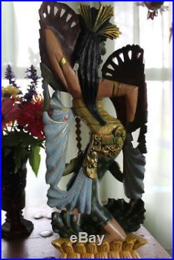 Balinese Dancer Statue Wood Carving Sculpture Handmade Bali table top Art 19
