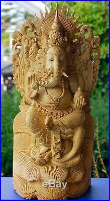 Balinese Ganapati Ganesha Wood Carving handmade Statue sculpture Bali Art