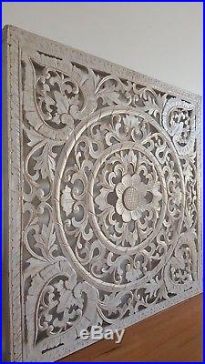 Balinese Hand Carved White Wash Wood Panel Large Art 80 CM X 80 CM