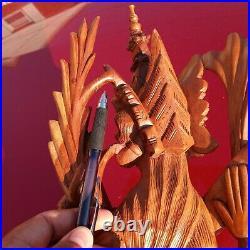 Balinese Hand carved Wood Sculpture Large art statue Hindu Goddess Saraswati