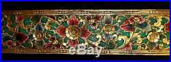 Balinese Lotus Panel Hand Carved Painted Wood Architectural Wall Art Sculpture