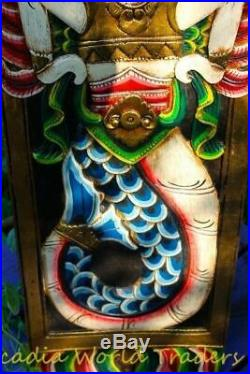Balinese Mermaid Nyi Kidul Goddess Panel Wall sculpture Carved Wood Bali Art