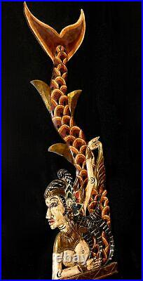 Balinese Mermaid Wall Sculpture Panel Carved Wood Bali Folk Art Red left Mul