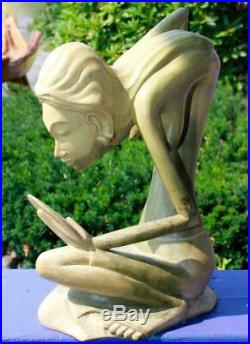 Balinese Nude Women Statue Sculpture Abstract hand carved wood Mas Bali Art