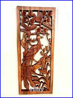 Balinese Peacock Panel Architectural Wall Art Plaque Hand Carved Wood Bali Decor
