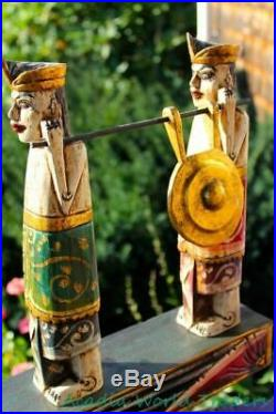 Balinese Procession Figures Statue Hand Carved Wood Polychrome Sculpture 23