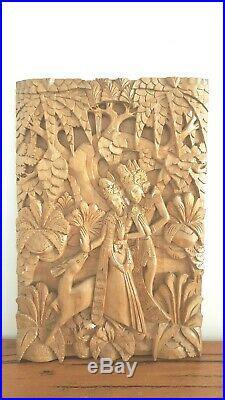 Balinese Rama & Shinta Relief Ramayana Solid Wood Hand Carved Wall Hang 49 CM