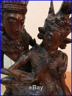 Balinese Rama Sinta Sita Sculpture Love Bali Art hand Carved Wood Statue