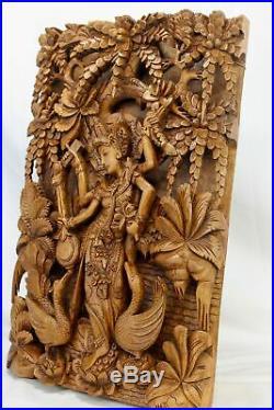 Balinese Saraswati Goddess Relief Panel Wall art Sculpture wood carving Bali Art