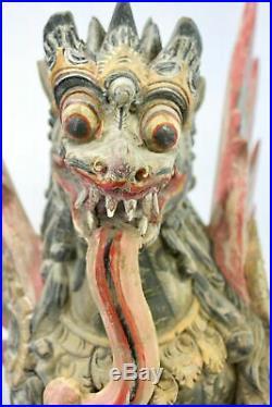 Balinese Singa Barong Winged Lion Temple statue wood carving sculpture Bali Art