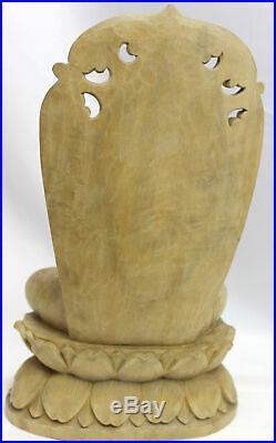 Balinese Teaching Buddha statue Vitarka Pose hand Carved Wood Sculpture Bali Art