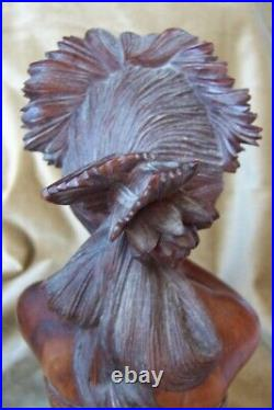 Balinese Wood Lady carved antique-Master Carving-Museum sculpture-statue-vintage