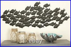 Beach Theme Wall Art Decor Metal Sculpture Fish School Hanging Home Decoration