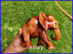 Beautiful Wood Elephant Carving Hand Carved Amber Figurine Home Decor Unique Gif