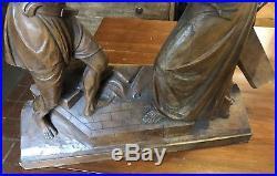 Best Antique Vintage Stations of the Cross Jesus Hand-Carved Wood Sculpture, 28