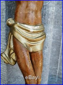 Big Antique France Church Wall Hanging Carved Wood Jesus Christ Corpus Sculpture