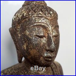Big Buddha Antique Wood Carved Statue Sculpture Sukhothai Relic Home Decor 14''H