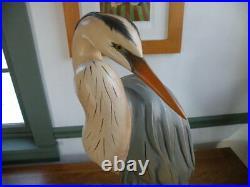 Big Sky Carvers Life Size Preening Blue Heron Carving