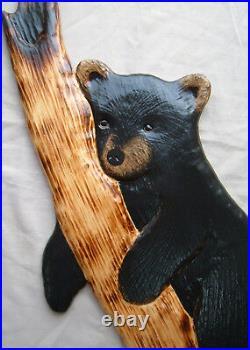 Black Bear Wood Carving Sculpture Home Decor Cub Chainsaw Cabin Decor Wall Art