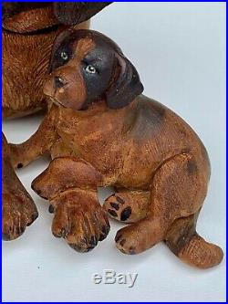 Black Forest Fabulous Wood Carved Sculpture Saint Bernard and his 2 puppies