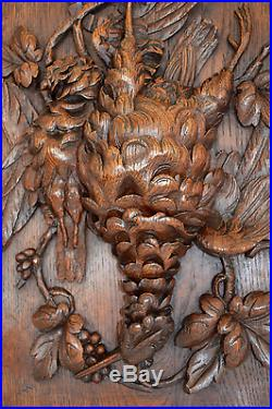 Black Forest Hand Carved Wood Panel Frame Hunt Theme Trophy Bird Wall Plaque