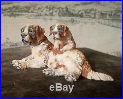 Black Forest St Bernard Swiss Dog Puppy Carved Sculpture Wood Figurine Saint