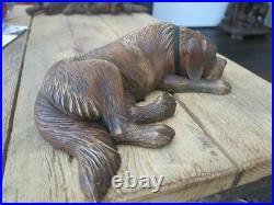 Black forest hand carved wood Dog wood carving