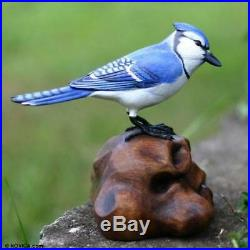 Blue Jay Bird Sculpture Hand-Carved+Painted Wood Art Figurine Statue NOVICA Bali