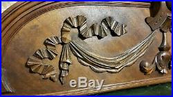 Bow drapery blazon wood carving pediment Atinque french architectural salvage