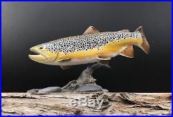 Brown Trout Wood Carving Flyfishing Sculpture Rod Reel Lodge Art Fishing Flies