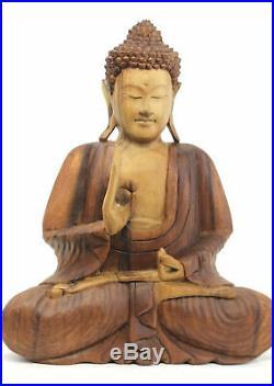 Buddha Sculpture Vitarka Teaching Mudra Hand carved wood statue Bali art