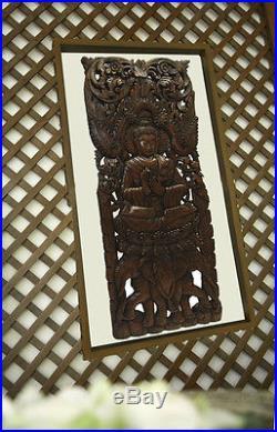 Buddha with Elephants Wood Carved Wall Decor Panel. Wall Art Brown 35.5x13.5