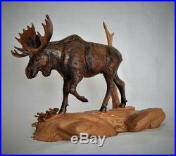 Bull Moose Original Cherry Wood Carving Sculpture By Joan Kosel