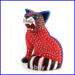 CAT Oaxacan Alebrije Wood Carving Handcrafted Fine Mexican Folk Art Sculpture