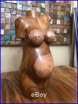 CLEARANCE 20 Suar Wood Hand Carved Nude Pregnant Female Body Torso Sculpture