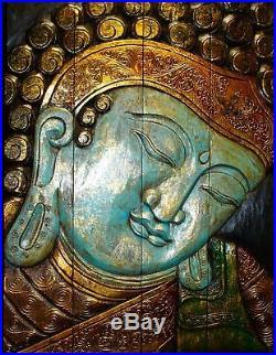 Calm Blue Buddha Panel wall art sculpture Folding Screen hand Carved Wood Bali