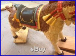Carousel Style Painted Carved Wood Goat Figure Sculpture 50x16x46