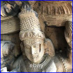 Carved Indian/India wood Architectural fragment various Hindu Deities Antique