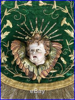 Carved Wood Cherub Baroque Putti Angel Wooden Sculpture