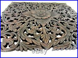 Carved Wood Wall Panel Floral Thailand Handmade Teak Sculpture Relief Square 23